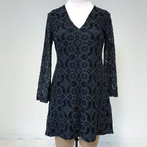 ASOS ASTR L Gray Lace Long Sleeve Mini Dress LBD